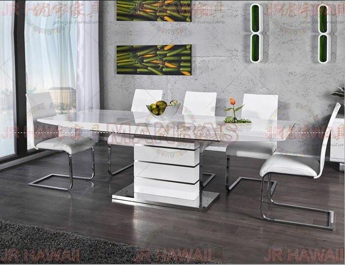 € 539.26 |Mesa plegable minimalista moderna de acero inoxidable blanco  comedor conjunto panel mesa de comedor plegable de jantar muebles  comedor-in ...