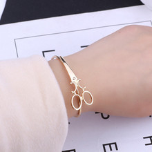 Модные браслеты с ножницами для женщин и мужчин простой: золото, серебро, Черные ножницы, открытые браслеты подвеска в виде ножниц, украшения для парикмахера