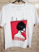 Chica rebelde estilo discoteca blanco manga corta Cool Girl fumar impreso T  shirt verano mujeres Casual ropa suelta camiseta c5e4c470441