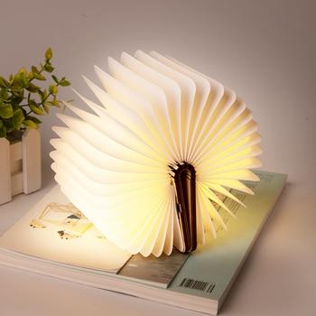 Led USB Lamp Book LED Wooden Leather Foldable Rechargeable Book Shape Desk Light Book Reading Lamp Bedroom Art Decor Nightlight 1