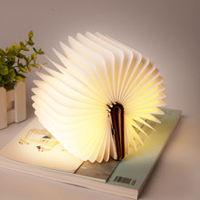 USB Rechargeable Led Book Lamp Warm White LED Wooden/Leather Foldable Book Shape Light Desk Book Lamp for Living Room Decor 2019(China)