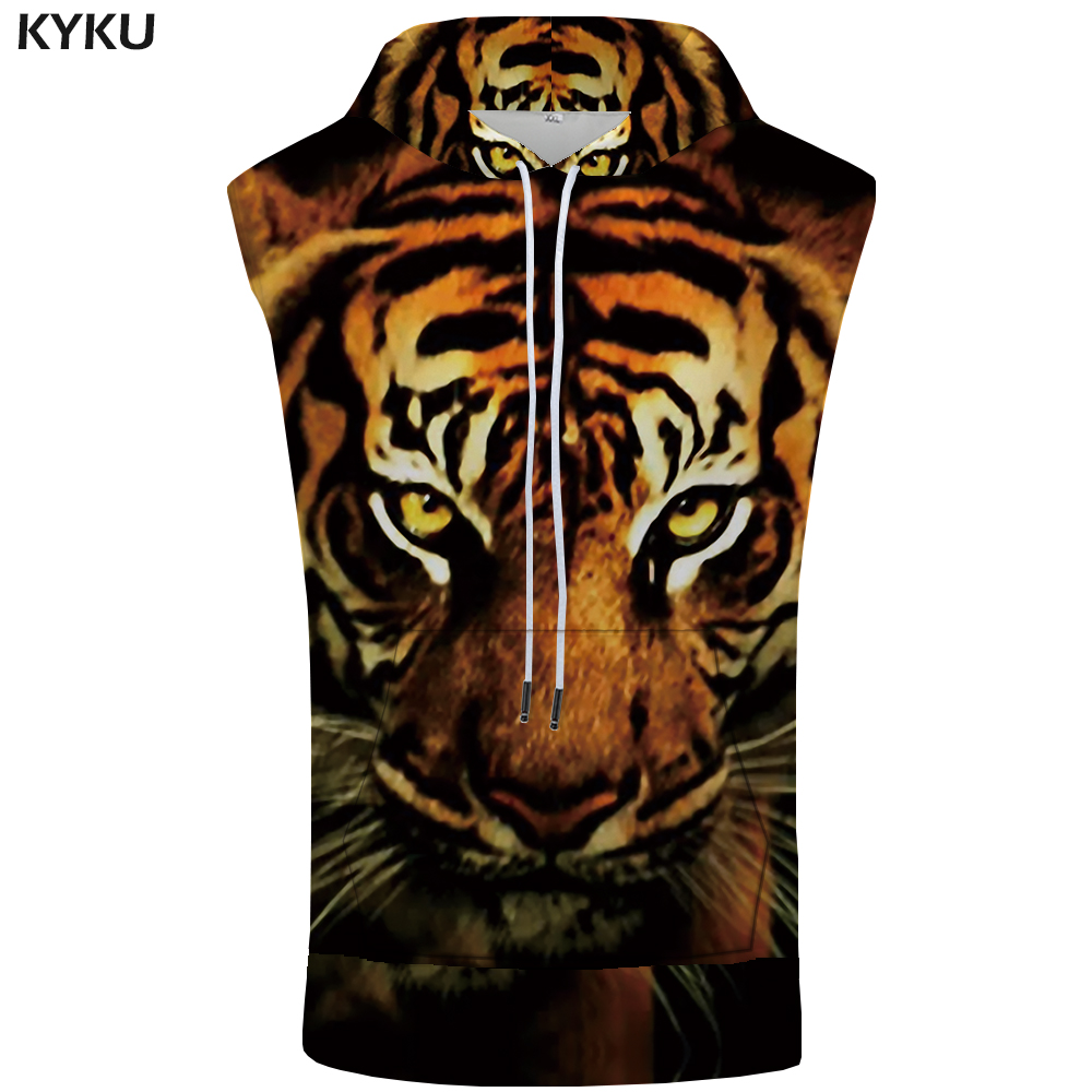 KYKU Brand Tiger Hooded   Tank     Top   Men Funny Stringer Animal Vest Shirts 3d Print Bodybuilding Fitness Mens Clothing Casual   Tops