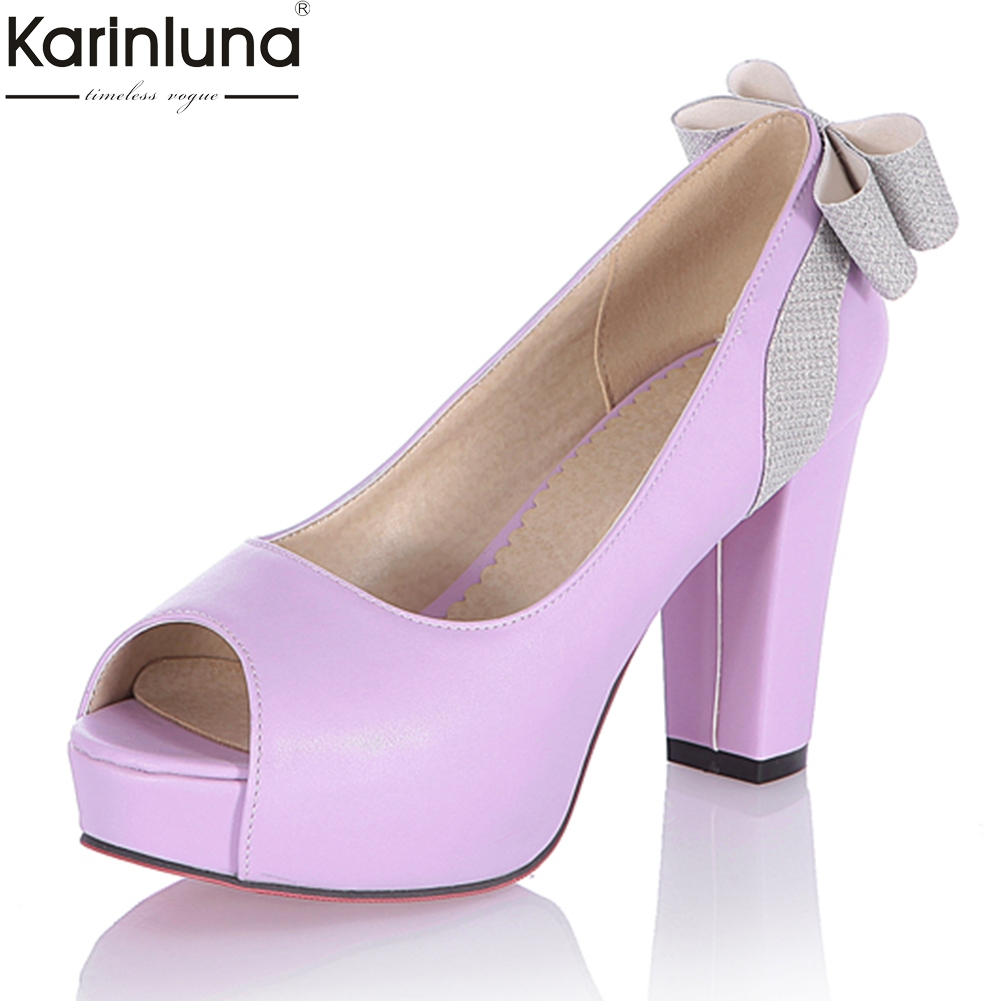 KarinLuna 2018 large size 34-43 sweet bow summer peep toe pumps high heels party Platform women Shoes Woman red Shoes pumps karinluna new big size 32 43 peep toe summer party shoes women 7 colors sexy 16cm thin high heels fashion red pumps shoes