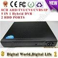 8-КАНАЛЬНЫЙ AHD/TVI/CVI/CVBS/IP Цифровой видеорегистратор DVR HVR NVR 1080NH AHD, поддержка аналоговых cctv/ahd/cvi/tvi/1080 P с 2 шт. порт HDD
