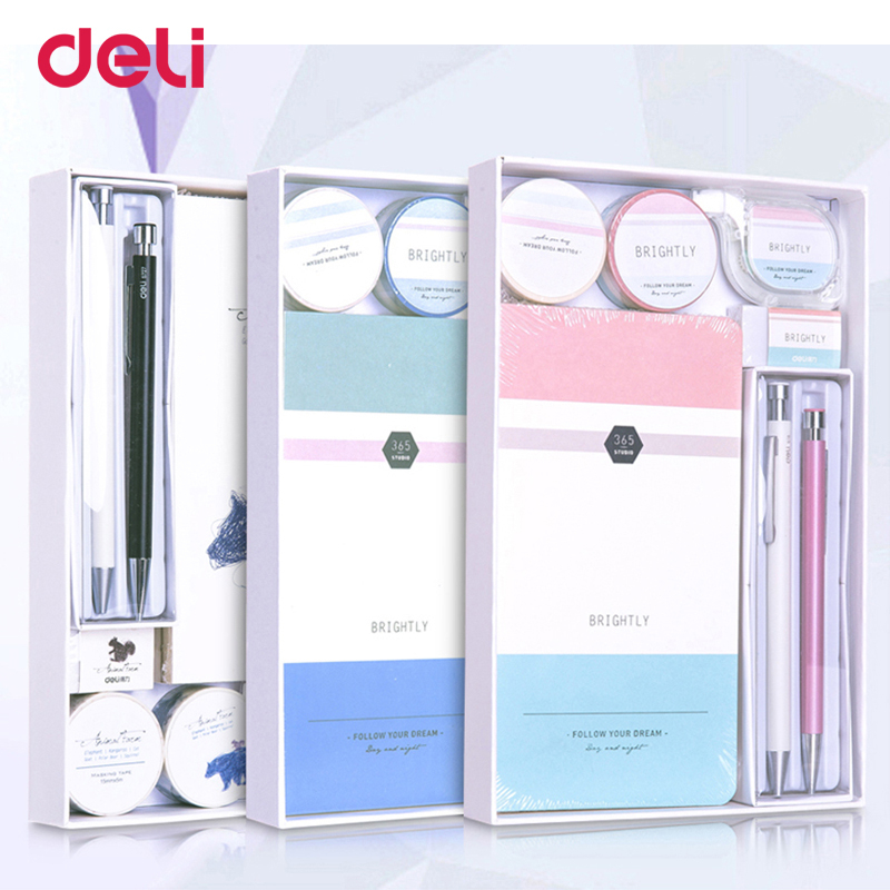 Deli Dropshipping writing set cute notebook gel pen mechanical pencil correction tape eraser washi tape for school gift with box