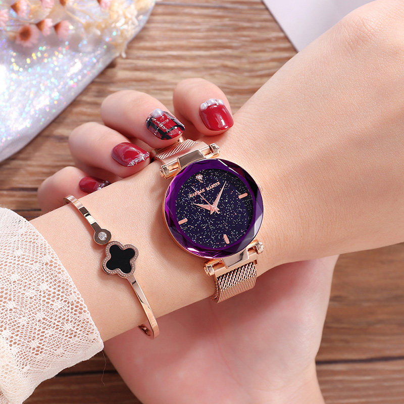 Rose Gold Watch Women Luxury Brand Steel Ladies Quartz Wristwatches Fashion Star Dial Rhinestone Female Watch Relogio Feminino fashion brand v6 quartz women watches rose gold steel thin case classic simple dial leather strap ladies watch relogio feminino