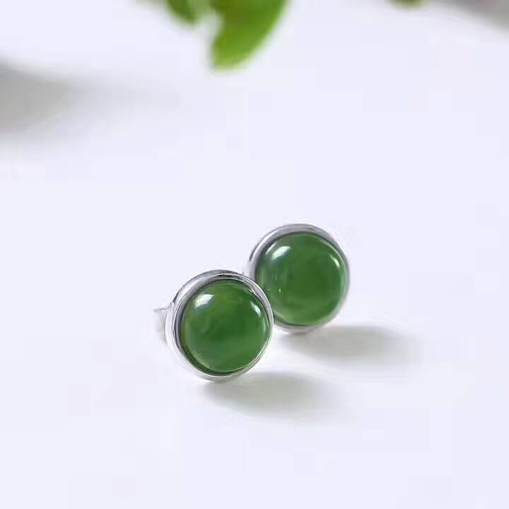 natural green jasper stud earrings 925 sterling silver natural gemstone earrings Cute simple round girl women's party jewelry