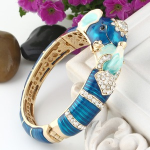 Image 5 - Tuliper браслет Animal Bangles For Women Femme 2020 Elephant Crystal Bracelets Enamel Wristband Party Jewelry Brazalete Mujer