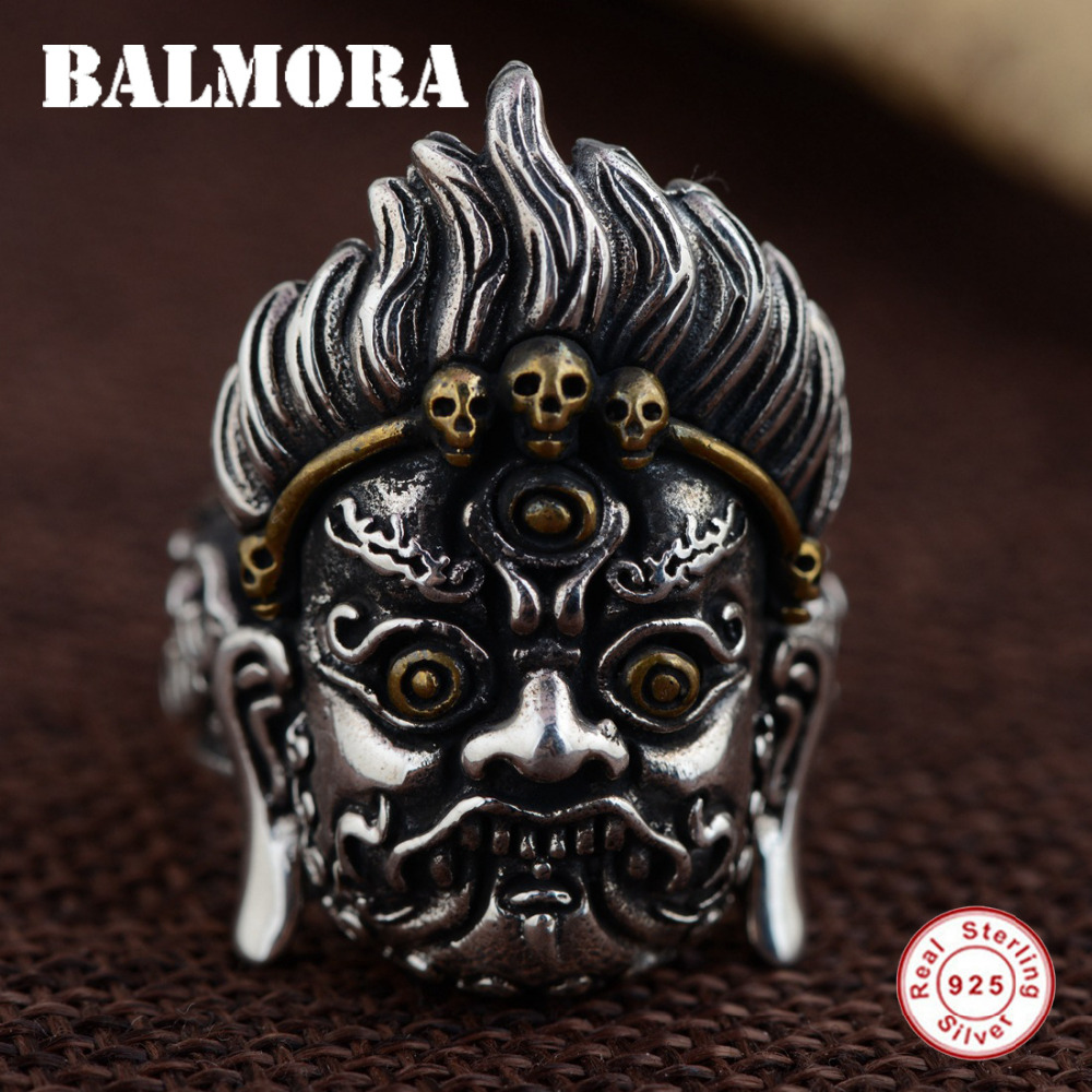 BALMORA 925 Sterling Silver King Kong Open Rings for Men Party Vintage Thai Silver Ring Punk Fashion Jewelry Anillos SY21458 jiyaiqi men s ring vintage silver stainless steel compass style fashion men party ring male jewelry rings