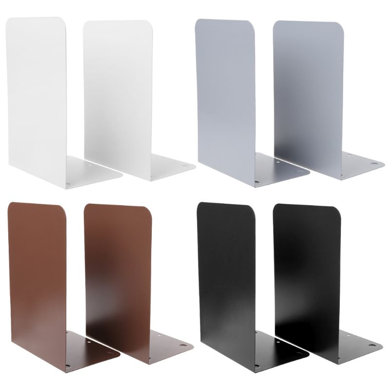 1 Pair Metal Bookends Organizer Desktop Office Home Book Shelf Storage Holder Book Ends