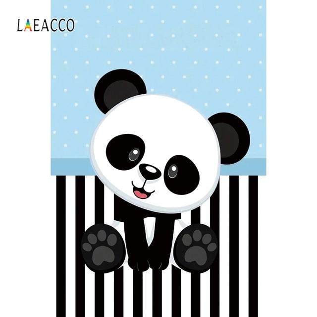 Laeacco Panda Black White Stripe Blue Points Birthday Photography Backgrounds Customized Photographic Backdrops For Photo Studio