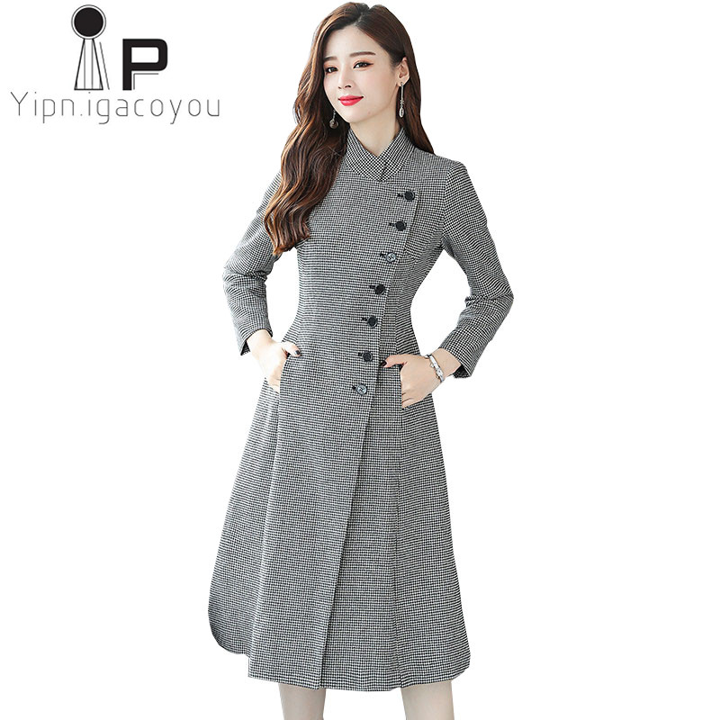 e455d89b864 Comprar Abrigo largo de lana de Invierno para mujer primavera otoño chaqueta  2018 talla grande Vintage coreano moda elegante abrigo de lana para mujer  ...