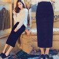 Nueva longitud del tobillo del Algodón lápiz falda larga ocasional de cintura alta maxi lápiz faldas mujer plus tamaño