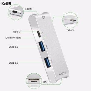 Image 2 - Adaptador de concentrador de 6 pulgadas 1 USB C pantalla 4K USB 3,0 con entrega de potencia Tipo C SD/lector de tarjetas TF para MacBook de tipo profesional C HUB Hdmi