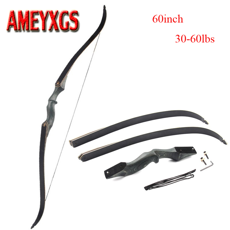60 Inch Archery Takedown Recurve Bow Draw Weight 30 60lbs Right Hand Composite Bow Handle Hunting Shooting Accessories