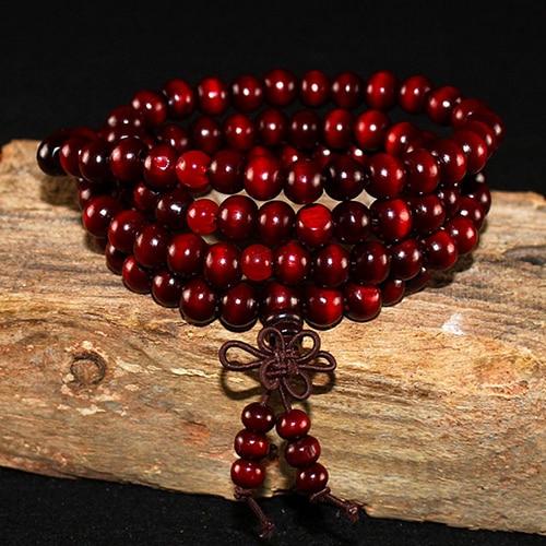 108 бусины 8 мм натуральные буддийские бусы из сандалового дерева будды деревянные молитвенные бисерные узелки черные эбеновые унисекс Мужские браслеты и браслеты для женщин - Окраска металла: 4 dark red