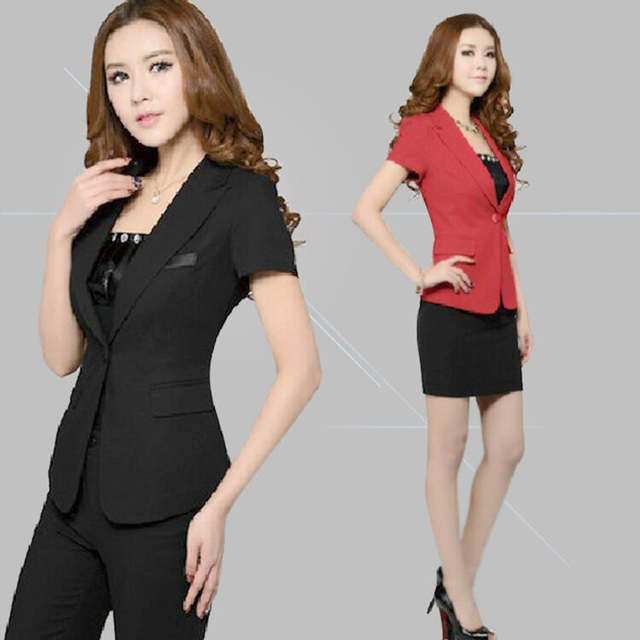 658ff2e80e1d9 placeholder 2018 new fashion women business Pant Suits formal office work  plus size Slim short-sleeve