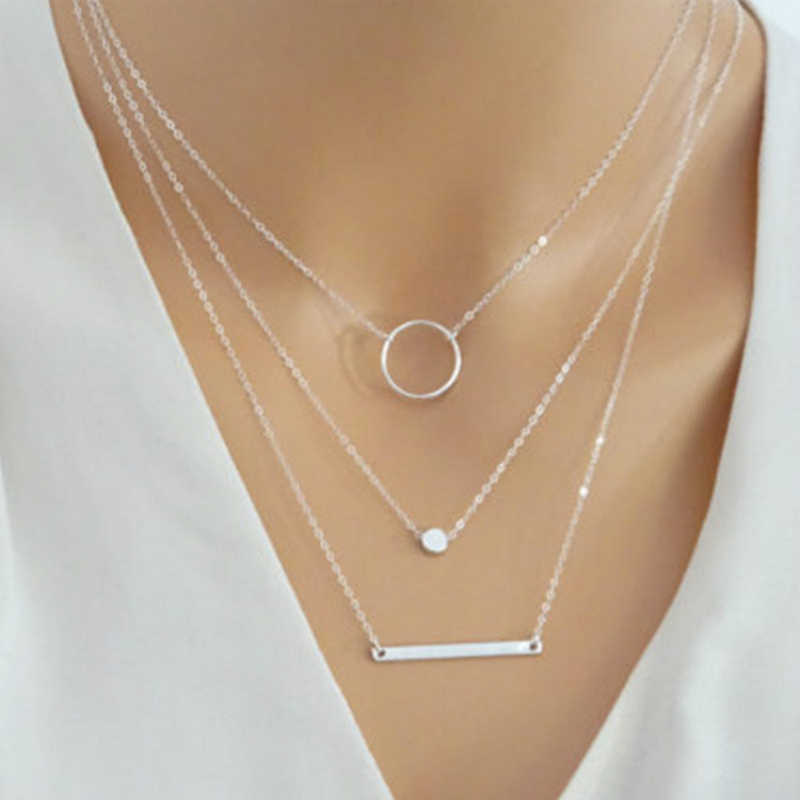 2018 New Fashion Wild Aperture Metal Rods Necklace Gold Silver Layered Necklace For Women Charm Gift Jewellery