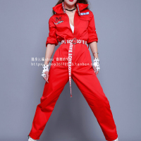 Women Stage Performance Clothing Jazz Dance Red Bodysuit Costumes Lady Hip Hop Dancing Clothes Street Dances DWY100001