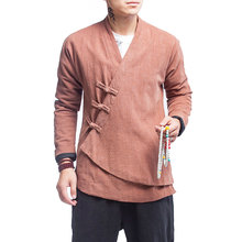 Men High Quality Chinese Style Cotton Linen Coat Male Casual Kongfu Costumes Outerwear Jacket