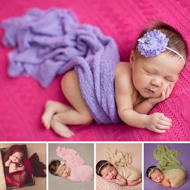 Unisex Pasgeboren Baby Baby Katoen Zachte Foto Wrap Doek Stretch