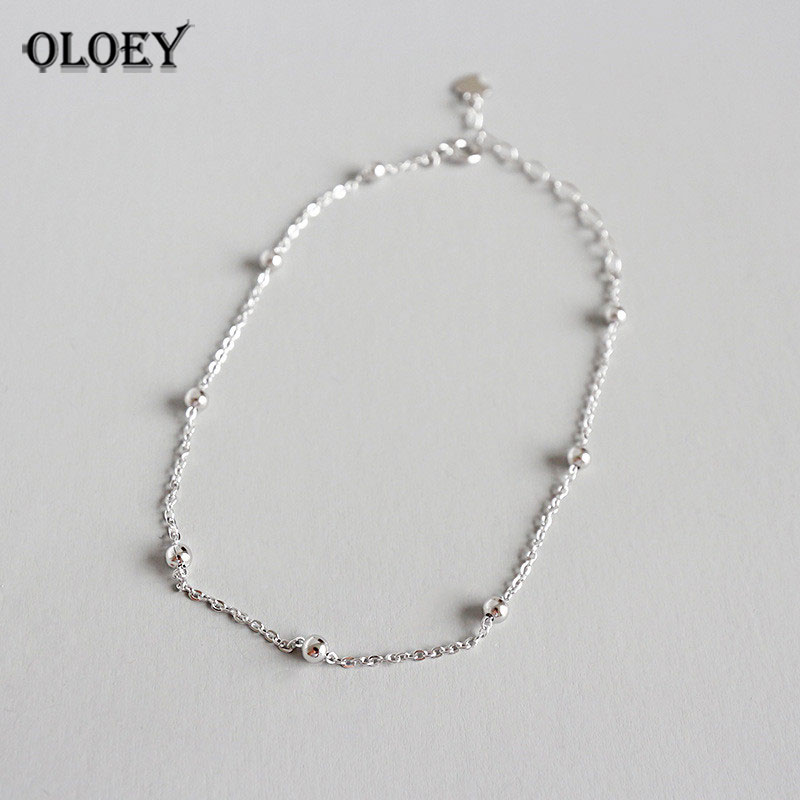 OLOEY Authentic 925 Sterling SIlver Anklet for Women Girls Chain Ball Charms Foot Jewelry Leg Bracelet Fine Jewelry Gift YMA006 ...