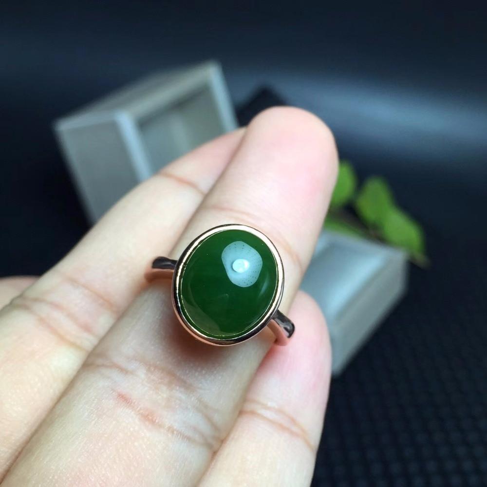 Anneaux ovales en jaspe naturel vert pour femmes, bijoux fins en argent Sterling 925, pierres précieuses 8*10mm avec certificat de boîte en velours FJ245