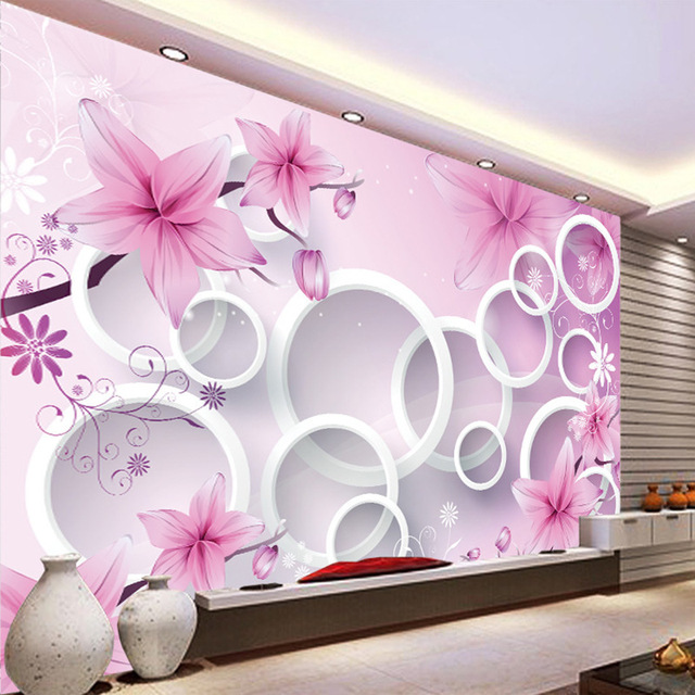 Pink flowers 3D stereo system wallpaper living room bedroom TV wall ...
