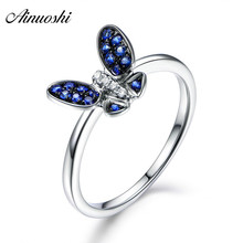 AINUOSHI Luxury Round Cut Blue White Sona Rings 925 Sterling Silver Butterfly Princess Wedding Anniversary Rings Jewelry Gifts
