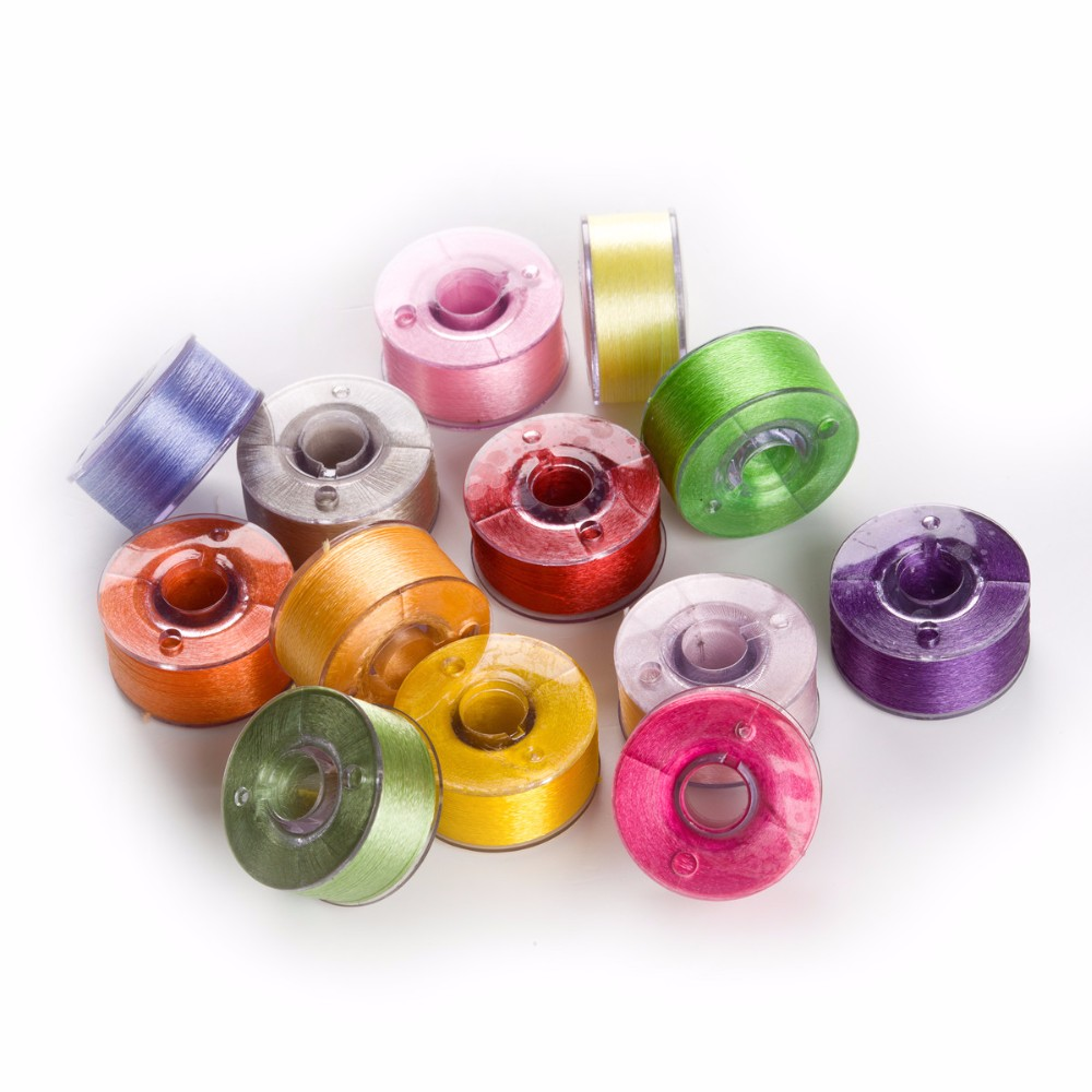 Simthread 25 Different Colors Prewound Bobbin Machine Machine Embroidery Thread Size A Class 15 with Bobbin Holder Box suitable for Janome Brother Babylock Singer machines
