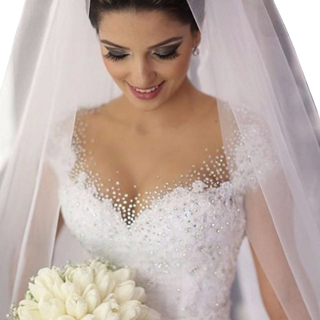 Muslim Arabic Wedding Dress Bridal Gowns Sheer Lace Beading Appliques Women Wedding Dresses Vestido De Noiva