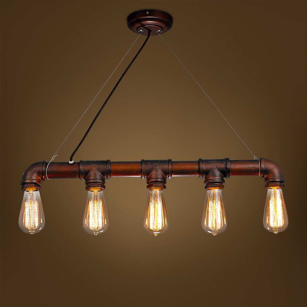 Retro Industrial Edison Bulbs 5 Heads Pendant Light Iron Water Pipe Copper Color Dining Room/Bedside Cafe Shore Decor Drop Lamp