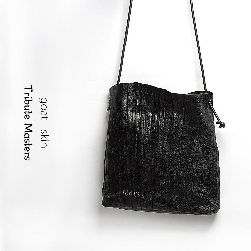 Femme en peau de mouton sacs en cuir véritable sac à main naturel plissé doux nouveau sac à bandoulière célèbre marque de mode noir Messenger sac