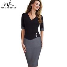 Güzel sonsuza kadar Vintage olgun Patchwork kısa düğme kollu v yaka giymek iş Bodycon kadın ofis kalem ince elbise B364