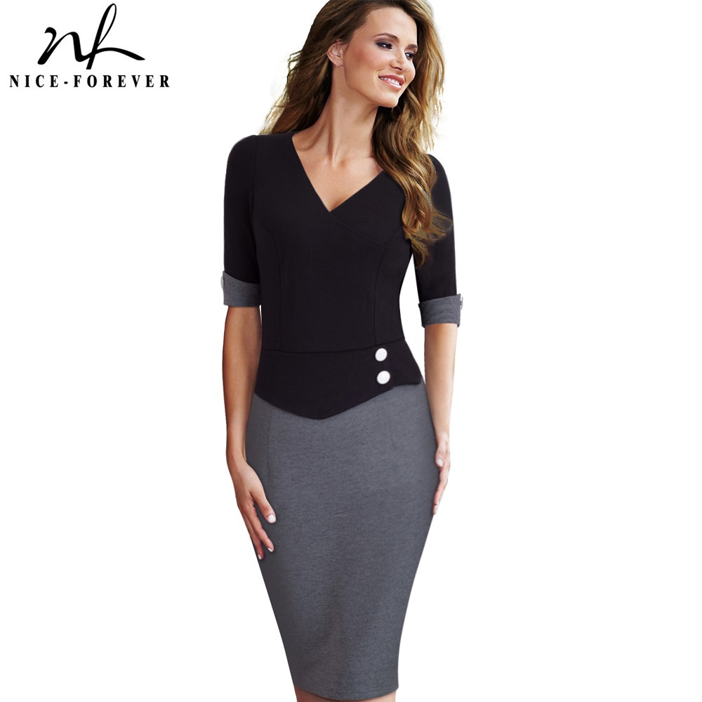 Nice-forever Vintage Mature Patchwork Manches courtes Bouton V-Neck Wear to Work Bodycon Femmes Bureau Crayon Slim Dress B364