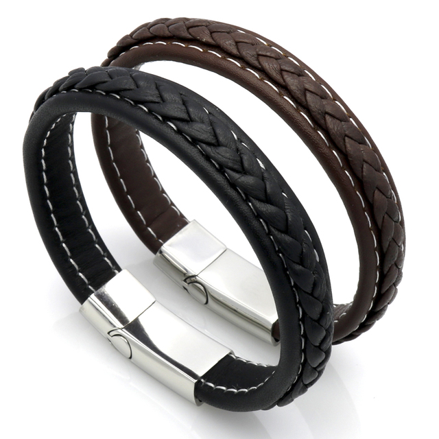 Black Genuine Leather Bracelet Men Bangle With Stainless Steel Fashion New Men Jewelry Rock Chunky Leather Men's Bracelets 2015