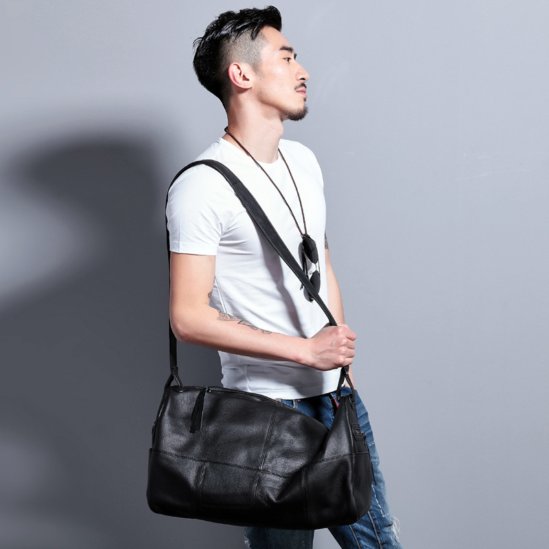 Natur Brand Leder Kuh Casual Original Design Taschen Black Crossbody Zipper Weiche Schulter Schwarz Handtaschen Haut Messenger Stil Herren PxwwHdqXF