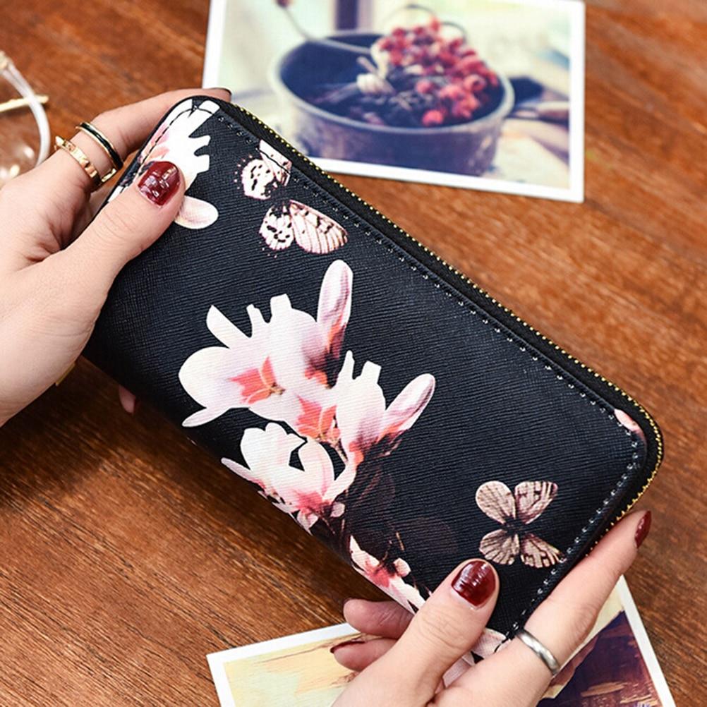Hot Sasle Fashion Envelope Women Wallet Flower Print Wallet Long Creative Female Card Holder PU wallet coin purses Girls finger print pu wallet