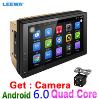 LEEWA 7 Ultra Slim Android 6.0 Car Media Player With GPS Navi Radio For Nissan/Hyundai All 2DIN ISO Size Head Unit Get:Camera