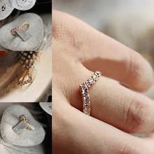 Hot 1pc Big Sale New Design Women Ladies Charming V-shaped Rhinestones Crystal Lovers'Ring Fashion Jewelry Xmas Gift