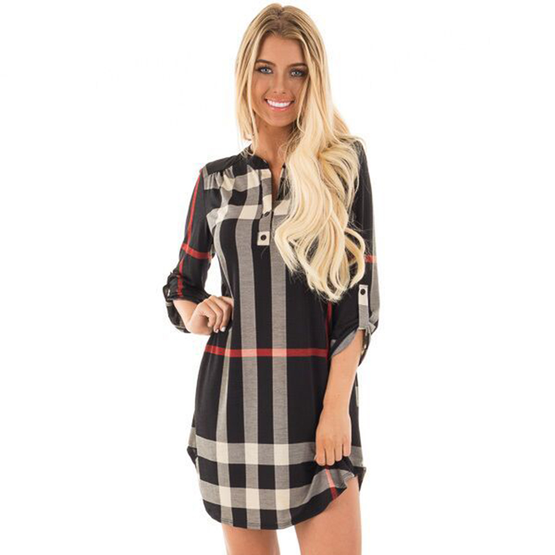 Basic Women Fashion Plaid Mini Dress V neck Three Quarter Sleeve Loose Pencil Dress font b