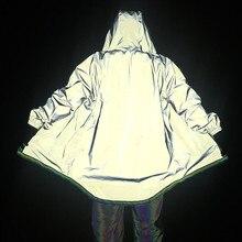 Нерегулярные мужчины светоотражающие плащ с длинным рукавом хип-хоп уличная одежда кардиган свободны Лучши