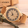 Moda Movimento Japão Relógio De Pulso De Madeira de Bambu Simples Mostrador do Relógio De Madeira Com Caixa de Couro Genuíno dos homens Marca Esportiva Relógio de Quartzo