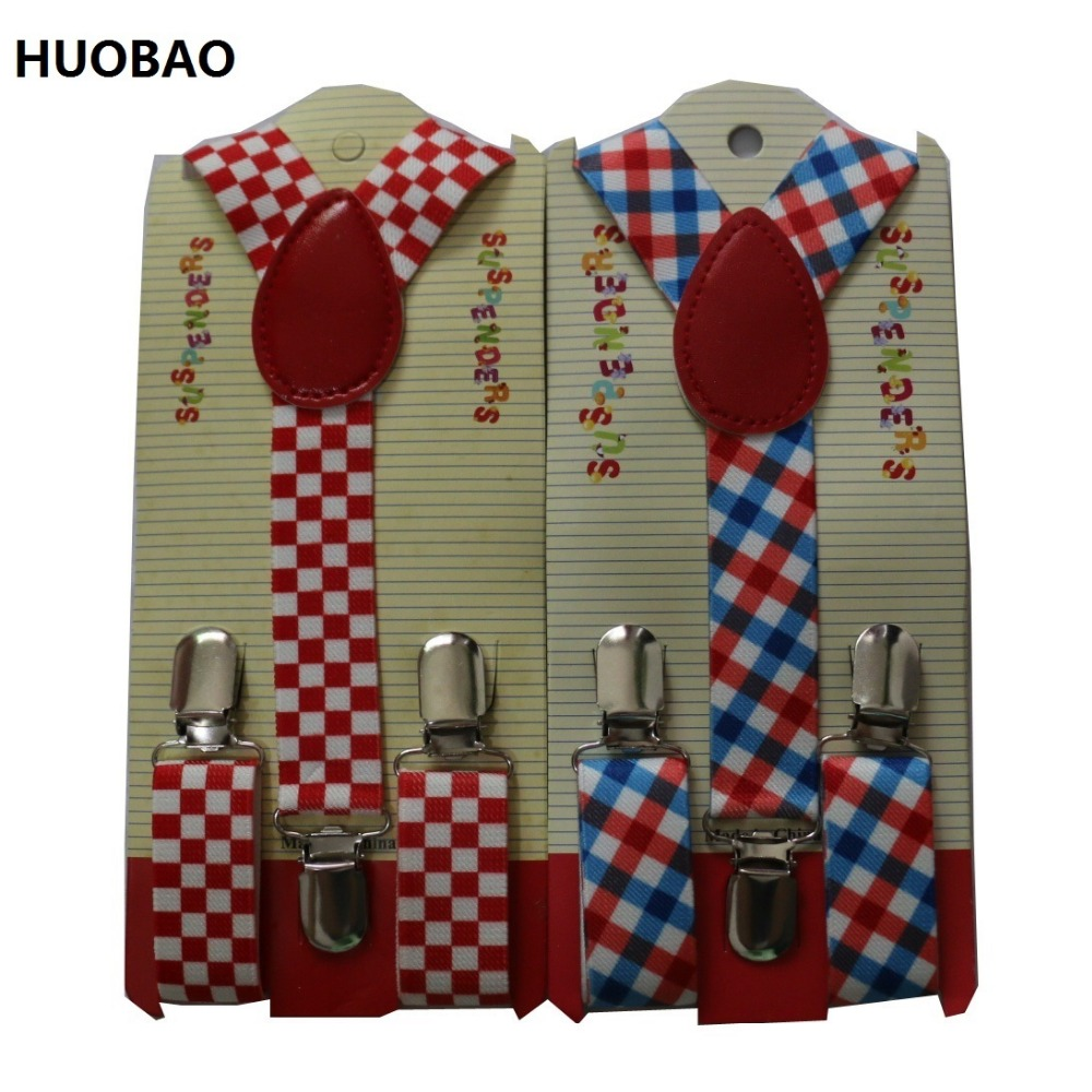 HUOBAO 2019 New Cute Kids Toddle Clip On Adjustable Fashion Plaid Braces Suspenders For Baby Boys And Girls