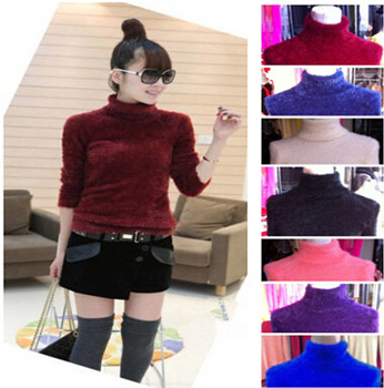 2016 New Arrival Autumn And Winter Solid Warm Sweater Fashion Long Sleeves Mohair Turtleneck Pullovers For Women/Girls wf-5090