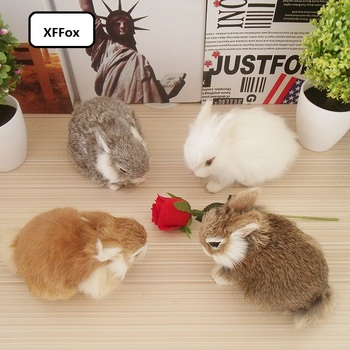 4 pieces a set real life small rabbit models plastic&furs cute rabbit dolls gift about 13x7x10cm xf1958