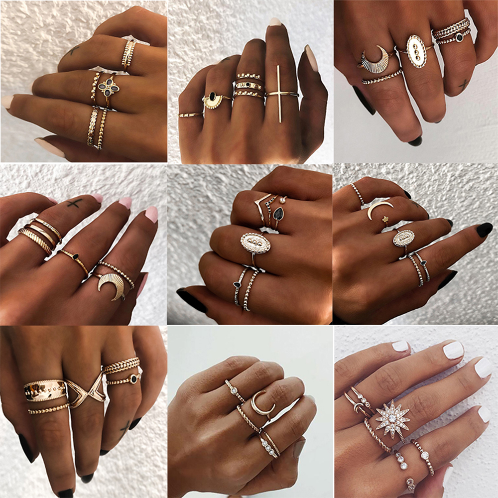 IPARAM Bohemian Vintage Gold Crescent Geometric Joint Ring Set for Women Crystal Personality Design Ring Set Party Jewelry Gift(China)