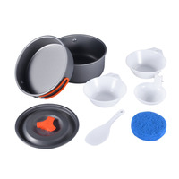 New Arrival 8pcs Worldwde Backpacking Cooking Picnic Outdoor Camping Hiking Cookware Bowl Pot Pan Set