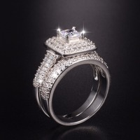 Majestic Sensation Women S 14K White Gold Plated Square Simulated Diamond Paved 134pcs CZ Wedding Ring