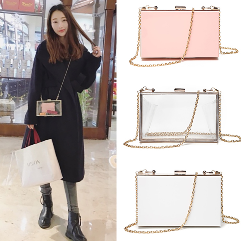 ulzzang Acrylic Chain Box Bags Ins Hot Sale Women Transparent Evening Clutch Bags Chic Small Fashion Lady Crossbody Bags Beach small transparent acrylic clutch perfume bottle bags lady evening clutch bags chain clutches women crossbody bag